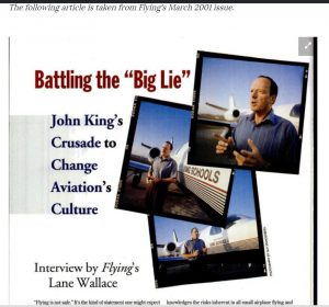 "Flying Magazine ""Battling the 'Big Lie'"" article that led to many discussions and eventually a change in tone and focus in the aviation industry."